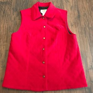 Talbots Red Quilted Vest Size Small Stretch